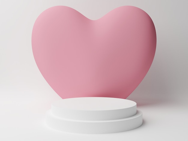 흰색 테이블 핑크 파스텔 마음으로 흰색 원 연단. 발렌타인 데이 개념. 3d 렌더링 그림