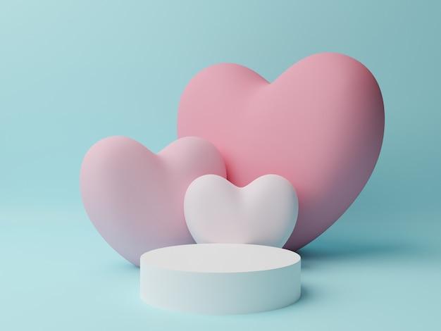 청록색 테이블과 분홍색, 흰색 마음으로 흰색 원 연단. 발렌타인 데이 개념. 3d 렌더링 그림