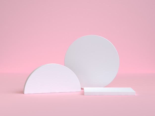 White circle and semi-circle geometric shape 3d rendering pink