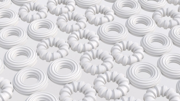 White circle shapes. white background. abstract illustration, 3d render.