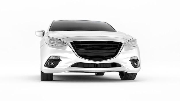 창의적인 디자인 3d 렌더링을 위한 빈 표면이 있는 흰색 도시 자동차
