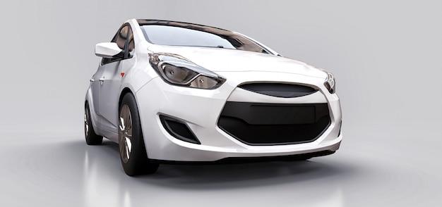 Белый городской автомобиль с пустой поверхностью для вашего творческого дизайна. 3d-рендеринг.