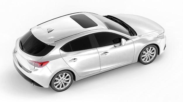 창의적인 디자인을 위한 빈 표면이 있는 흰색 도시 자동차. 3d 렌더링.