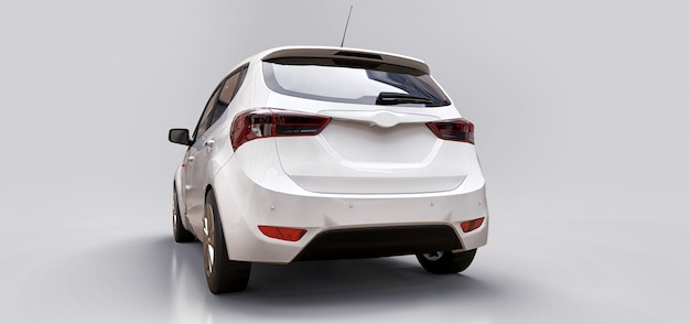 White city car with blank surface for your creative design. 3d rendering.