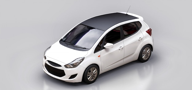 White city car with blank surface for your creative design