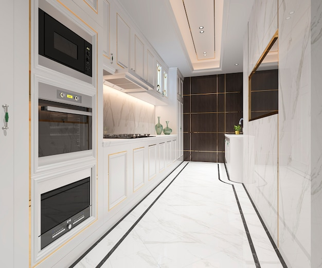White classic kitchen with luxury design
