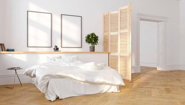 화이트 클래식 스칸디나비아 로프트 침실 인테리어 햇빛 d 렌더링 그림 조롱