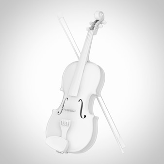 Белая классическая деревянная скрипка с бантом в стиле глины на белом фоне. 3d рендеринг