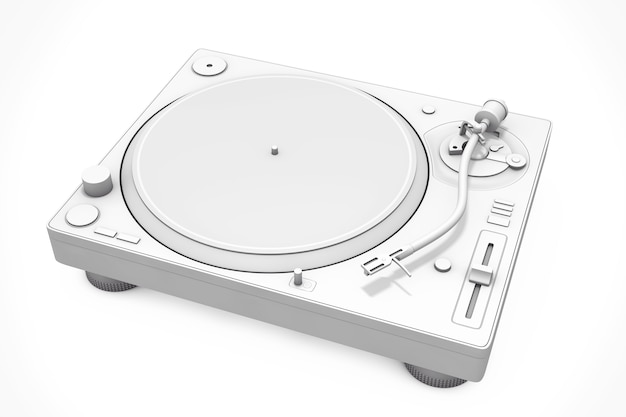 White clay style professional dj turntable vinyl record player on a white background. 3d rendering