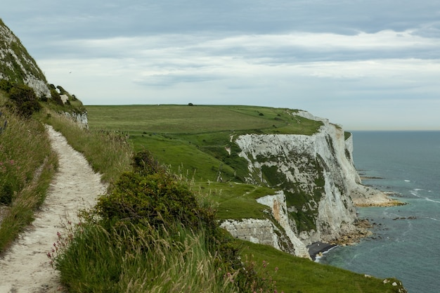 White cliffs of dover covered in greenery under a cloudy sky in the uk