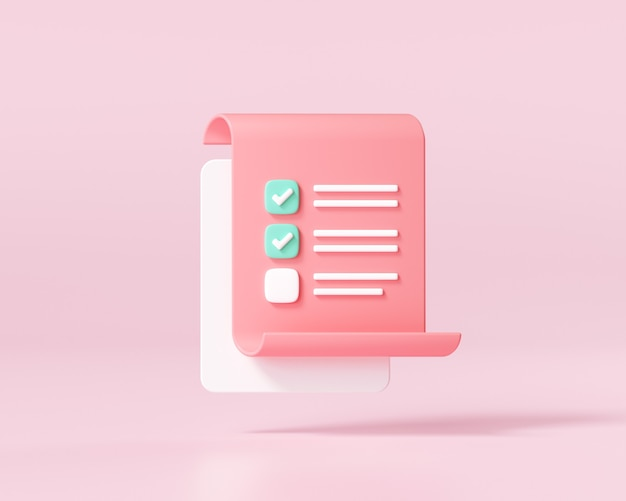 분홍색 배경에 체크리스트가 있는 흰색 클립보드입니다. 3d 렌더링 그림입니다.