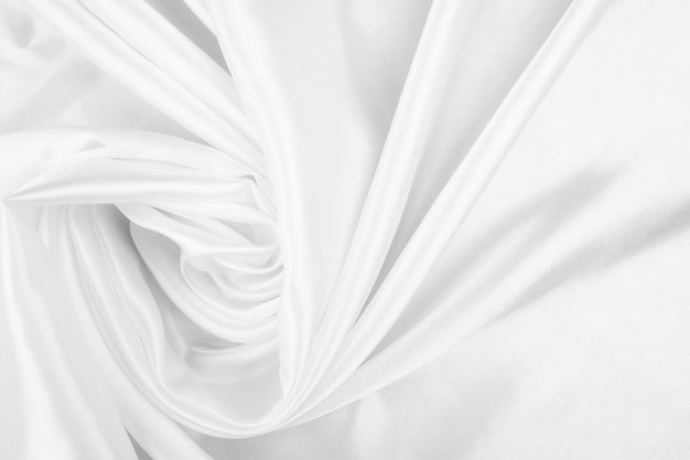 White cloth background abstract with soft waves, closeup texture of cloth