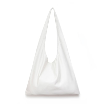제로 폐기물 의식의 디자인 개념에 대한 흰색 격리 된 표면 장소에 흰색 천으로 쇼핑 가방은 모형 빈 템플릿에 대한 쇼핑 캔버스 직물을 의식