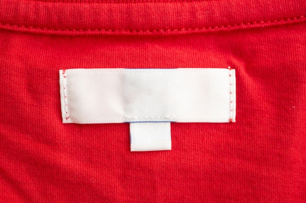 White clothing tag on cotton shirt