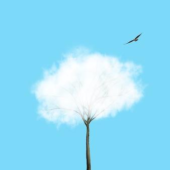 Белое облако как крона дерева и летящая птица на синем фоне. место для текста. фон экологии для роста и защиты окружающей среды.