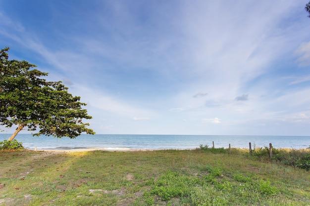 白い雲、青い空、自然を背景に海の景色として緑の土地と海。
