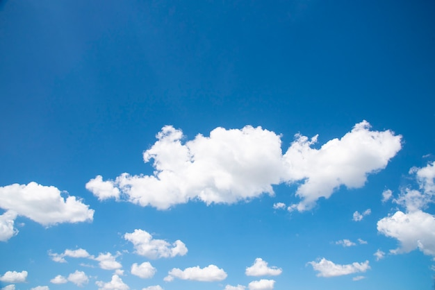 White cloud in the blue sky with copy space.