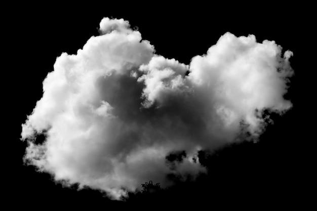 白い雲の孤立した黒い表面の空