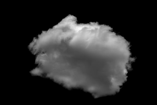 검은 배경 현실적인 구름에 고립 된 흰 구름.