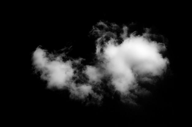 黒の背景に分離された白い雲