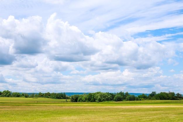 푸른 잔디 필드 위에 푸른 하늘에 흰 구름.