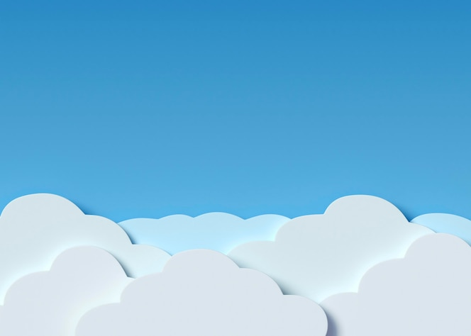 White clouds and blue background