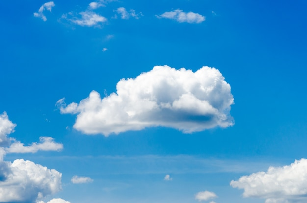 White clouds in the blue sky. photo in the sunny day.