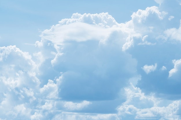 White clouds in blue sky shaped resemble face