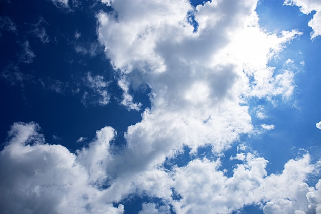 White clouds in blue sky with the beauty of nature.