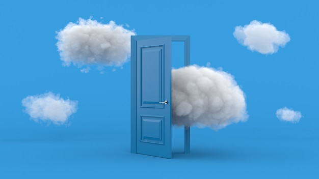 White clouds going through, flying out, open blue door, objects isolated on bright blue wall