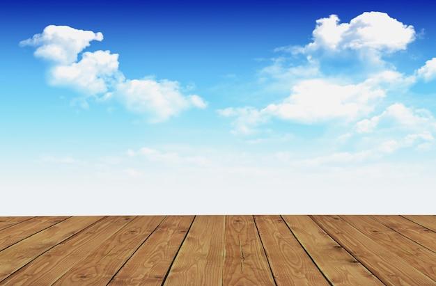 木の床と青空の背景に白い雲。 -画像