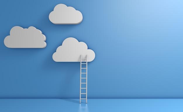 Белые облака на синем фоне и лестница. 3d визуализация.