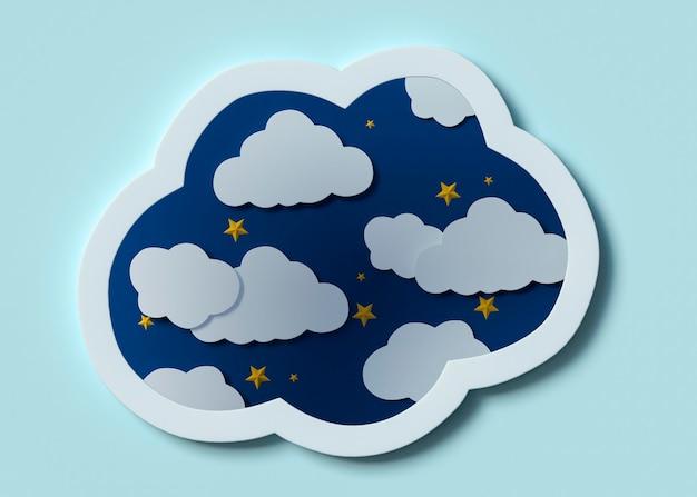 Disposizione di nuvole bianche e stelle gialle