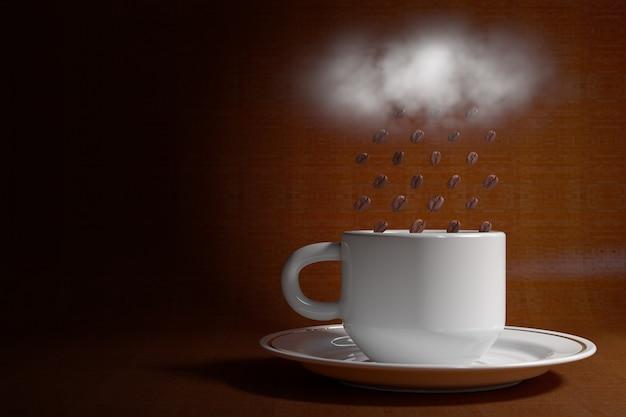 茶色の背景に白い雲からコーヒー豆の雨と白いコーヒーカップ。 3dレンダリング