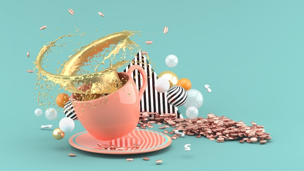 White coffee cup with splash golden coffee on green, 3d rendering