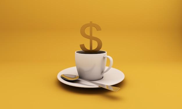 煙が黄色の背景の金貨の画像に漂う白いコーヒーカップ。コンセプトアイデア-3dレンダリング