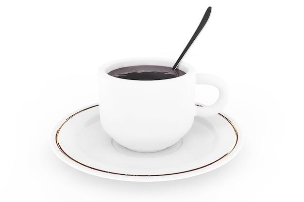 Белая кофейная тарелка, ложка и чашка с кофе на белом фоне