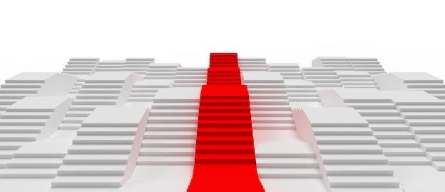 Белый цвет лестницы абстрактные 3d визуализации иллюстрации с красной дорогой к успеху