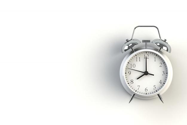 White color vintage alarm clock