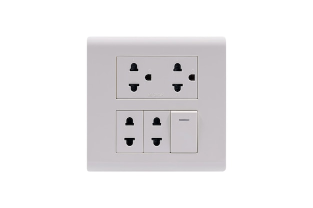 White color wall outlet ac power plug socket with on off switch isolated on white background.