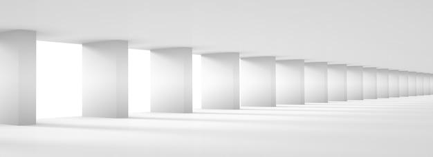 White column hall design, futuristic architecture