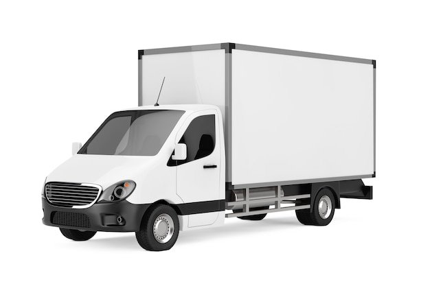 Белый коммерческий промышленный грузовик фургон доставки грузов на белом фоне. 3d рендеринг