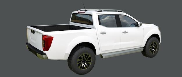 ダブルキャブ付きの白い商用車配送トラック。あなたのロゴとラベルを収容するためにきれいな空のボディで記章のない機械。 3dレンダリング。