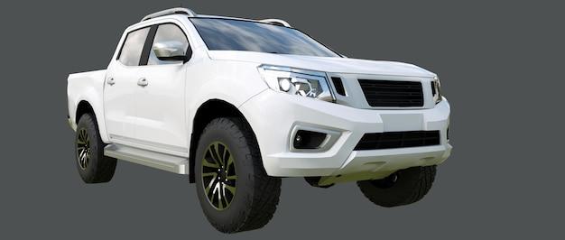 Белый грузовой автомобиль с двойной кабиной. машина без знаков отличия с чистым пустым корпусом для размещения ваших логотипов и наклеек. 3d-рендеринг.
