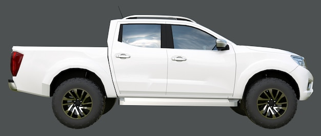 White commercial vehicle delivery truck with a double cab. machine without insignia with a clean empty body to accommodate your logos and labels. 3d rendering.