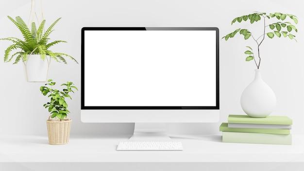 식물이있는 최소한의 바탕 화면에 흰색 컴퓨터가 3d 렌더링을 모의합니다.