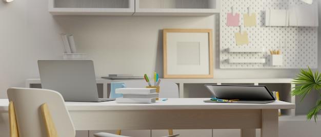 Белый концептуальный дизайн интерьера кабинета с учебным столом, книжными полками и украшениями, 3d-рендеринг