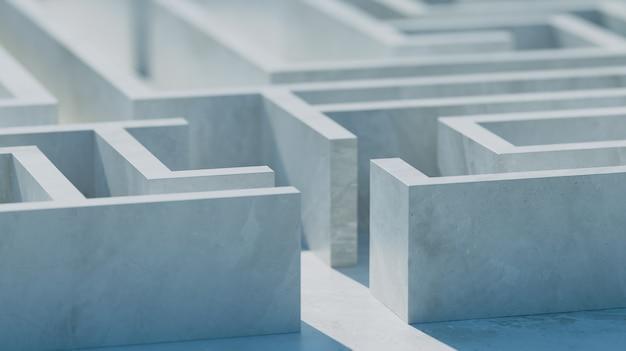 흰색 콘크리트 미로. 비즈니스 또는 교육 개념.