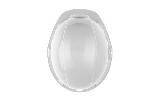 White construction helmet. the concept of architecture, construction, engineering, design. copy space top view