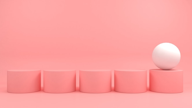 White contrast geometric shape different on pink pastel background